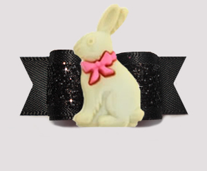 "#3149 - 5/8"" Dog Bow - Easter Bunny, Gorgeous Glitter, Black - Click Image to Close"
