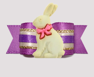 "#3150 - 5/8"" Dog Bow - Gorgeous Easter Bunny, Orchid/Cream/Gold"