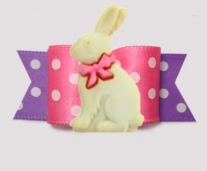 "#3151 - 5/8"" Dog Bow - Sweet Easter Bunny, Pink/Lavender w/Dots"
