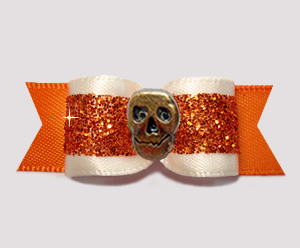 "#3152 - 5/8"" Dog Bow - Bronze Skull, Cream and Orange Glitter"