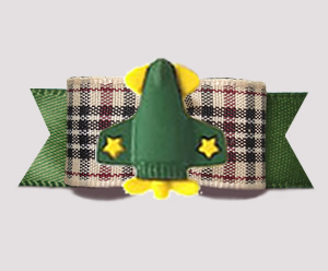 "#3153 - 5/8"" Dog Bow - Jet Me Away! Designer Plaid/Olive Green"