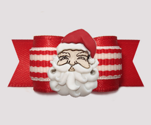 "#3154 - 5/8"" Dog Bow - HoHoHo! Happy Santa, Red/White Stripes"