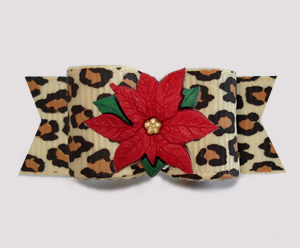 "#3155- 5/8"" Dog Bow - Gorgeous Leopard Print, Holiday Poinsettia"