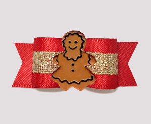"#3156- 5/8"" Dog Bow - Gingerbread Girl, Holiday Red/Sparkly Gold"