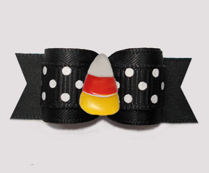 "#3157- 5/8"" Dog Bow- Sweet Candy Corn, Midnight Black/White Dots"