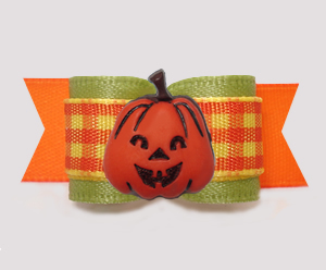 "#3159- 5/8"" Dog Bow- Autumn Sage/Candy Corn Plaid, Happy Pumpkin"