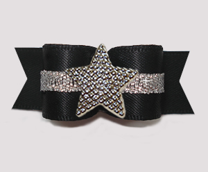 "#3161 - 5/8"" Dog Bow - Classic Black Satin w/Silver, Star"