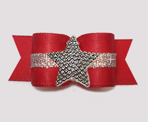 "#3162 - 5/8"" Dog Bow - Classic Red Satin w/Silver, Star"