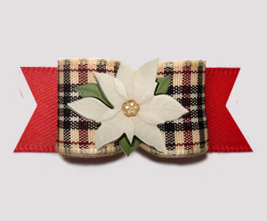 "#3163 - 5/8"" Dog Bow - Gorgeous Designer Plaid/Red w/Poinsettia"