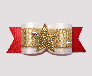 "#3164 - 5/8"" Dog Bow - Classic Beauty, Red/Gold w/Gold Star"