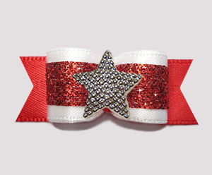 "#3166 - 5/8"" Dog Bow- Classic Glamor, Rich Red Glitter w/Star"