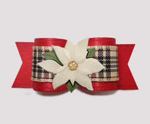 "#3167 - 5/8"" Dog Bow - Elegant Designer Plaid/Red, Poinsettia"