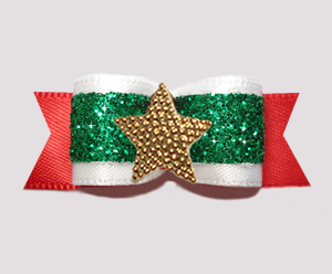 "#3171 - 5/8"" Dog Bow - Festive Holiday Glitter, Gold Star"