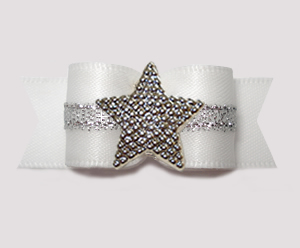 "#3172 - 5/8"" Dog Bow - Angelic White w/Silver, Shiny Star"