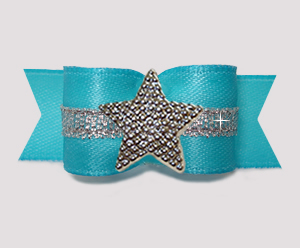 "#3173 - 5/8"" Dog Bow - Electric Blue w/Silver, Shiny Star"