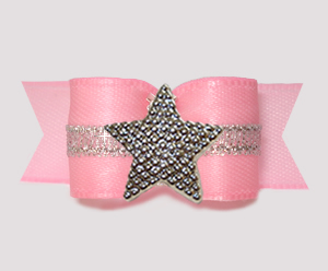 "#3174 - 5/8"" Dog Bow - Soft Pink w/Silver, Shiny Star"