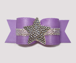 "#3175 - 5/8"" Dog Bow - Lovely Lavender w/Silver, Shiny Star"