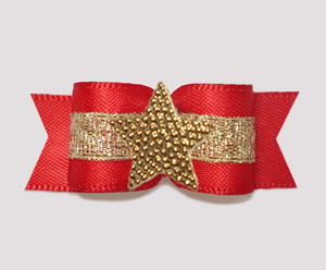 "#3176 - 5/8"" Dog Bow - Classic Red w/Gold, Shiny Star"