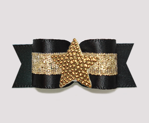 "#3177 - 5/8"" Dog Bow - Classic Black w/Gold, Shiny Star"