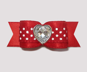 "#3178 - 5/8"" Dog Bow - Sweet Red with White Dots, Bling Heart"