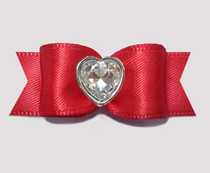 "#3179 - 5/8"" Dog Bow - Classic Rich Red Satin w/Bling Heart"
