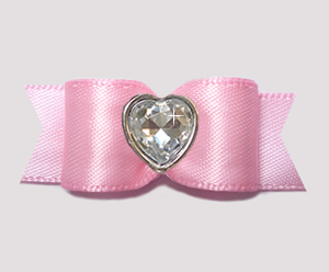 "#3180 - 5/8"" Dog Bow - Pretty Pink Satin w/Bling Heart"