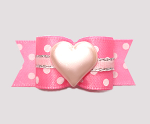 "#3181 - 5/8"" Dog Bow - Little Sugar Sweetheart, Pink/White"