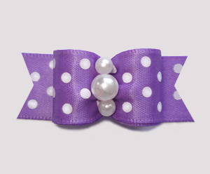 "#3182 - 5/8"" Dog Bow - Little Sugar, Lavender/White Dots, Pearls"