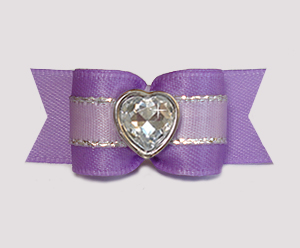 "#3183 - 5/8"" Dog Bow - Lush Lavender w/Silver, Bling Heart"