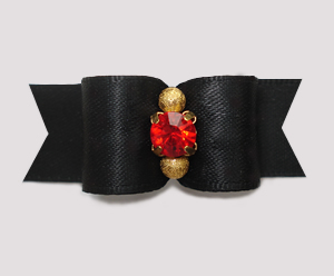 "#3184 - 5/8"" Dog Bow - Classic Black Satin, Gold/Ruby Rhinestone"