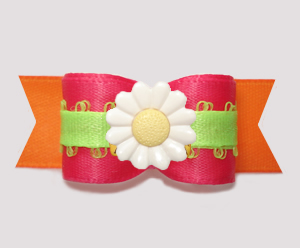"#3185 - 5/8"" Dog Bow - Delightful Daisy, Hot Pink/Orange/Lime"