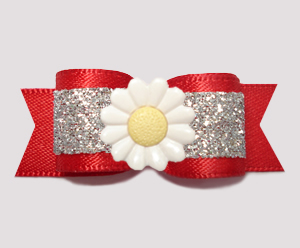 "#3186 - 5/8"" Dog Bow - Dazzling Daisy, Red/Silver Glitter"