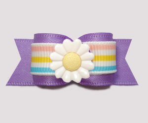 "#3187 - 5/8"" Dog Bow - Pretty Purple w/Pastel Stripes, Daisy"