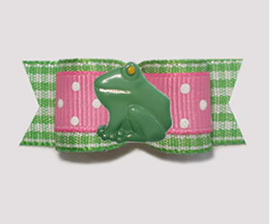 "#3188 - 5/8"" Dog Bow - Spring Picnic Frog, Green Gingham/Pink"