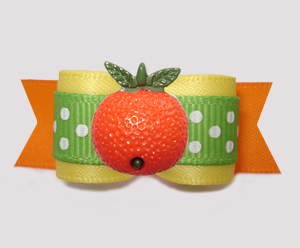 "#3189- 5/8"" Dog Bow - Orange You Cute! Sunny Yellow/Green/Orange"