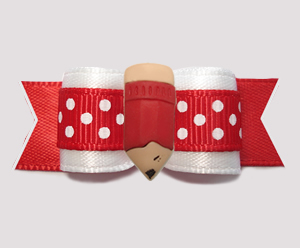 "#3190 - 5/8"" Dog Bow - Make A Note/Pencil Me In! Red/White"