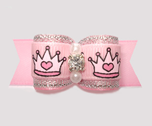 "#3192 - 5/8"" Dog Bow - Spectacular Princess Crowns, Pink/Silver"