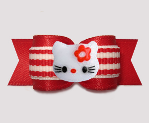 "#3195 - 5/8"" Dog Bow - Hello Little Kitty, Red/White Stripes"