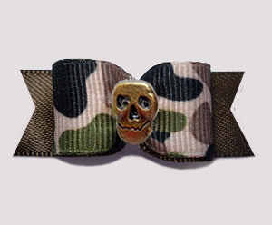 "#3196 - 5/8"" Dog Bow - Tan Camouflage Print/Brown, Bronze Skull"