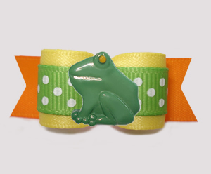 "#3198 - 5/8"" Dog Bow - Happy Froggie, Sunny Yellow/Green/Orange"