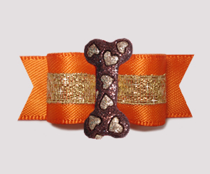 "#3201 - 5/8"" Dog Bow - Vibrant Orange Satin w/Sparkle Heart Bone"