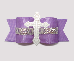 "#3202 - 5/8"" Dog Bow - White Cross, Lovely Lavender w/Silver"
