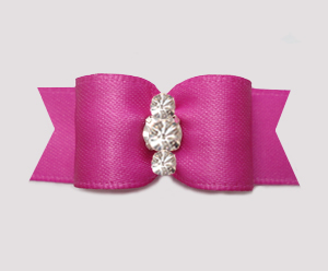 "#3203 - 5/8"" Dog Bow - Satin, Magenta Rose, Triple Rhinestones"