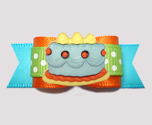 "#3205 - 5/8"" Dog Bow - Yummy Cake, Happy Birthday! Blue/Orange"