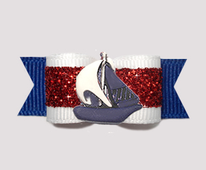 "#3206- 5/8"" Dog Bow- Ahoy! Sparkly Red/White/Blue, Navy Sailboat"