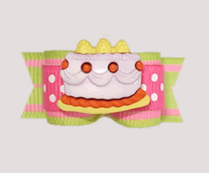 "#3211 - 5/8"" Dog Bow - Celebrate! Sweet Birthday Cake, Pink/Lime"