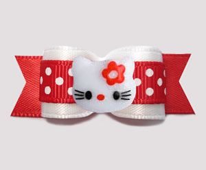 "#3212 - 5/8"" Dog Bow - Red/White Sweetheart Dots, Little Kitty"