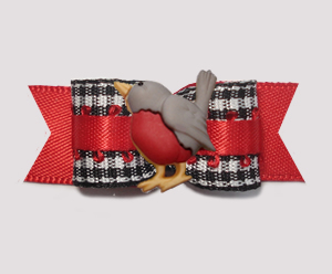 "#3213 - 5/8"" Dog Bow - Tweet Tweet! B/W Gingham with Red Robin"