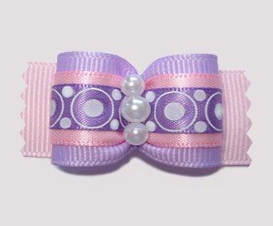 "#A6885 - 7/8"" Dog Bow - Lavender/Pink, Bubblegum Dots"
