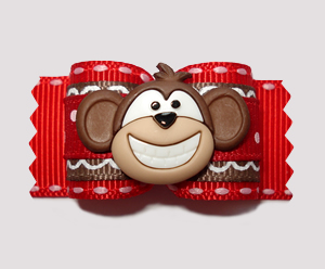 "#A6887 - 7/8"" Dog Bow - Red/Brown, Monkey Business"